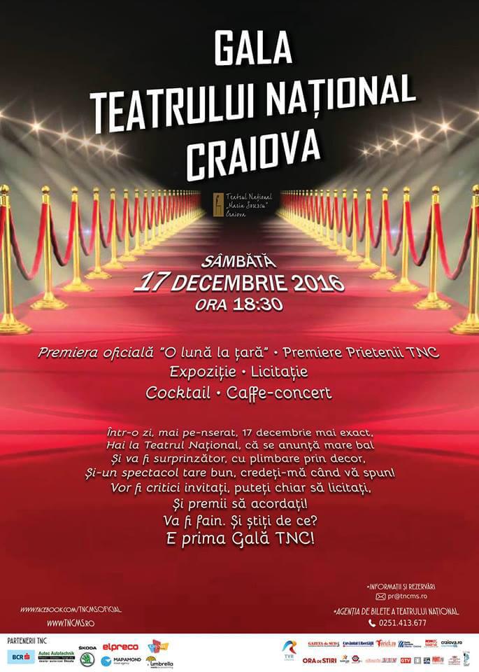 Prima gală din istoria Teatrului Național din Craiova